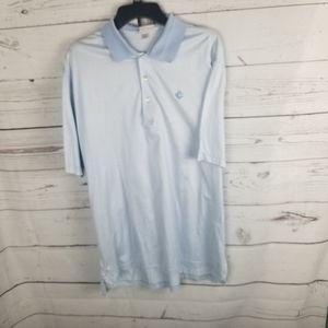 Peter Millar Striped Polo Blue White Mens Large